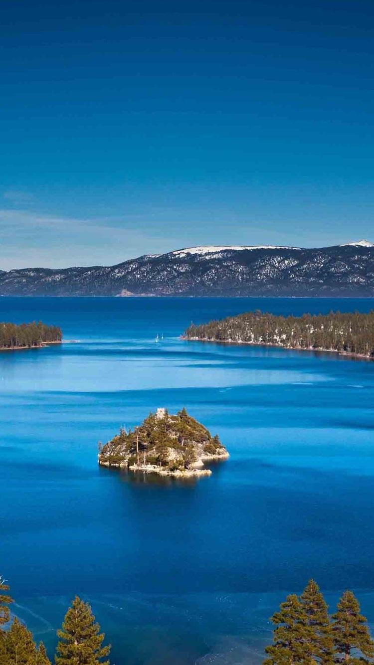 Lake Tahoe California Usa Mountains Island Blue Sky 750x1334 Iphone 8 7 6 6s Wallpaper Background Picture Image