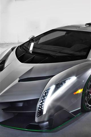 iPhone Wallpaper Lamborghini silver supercar