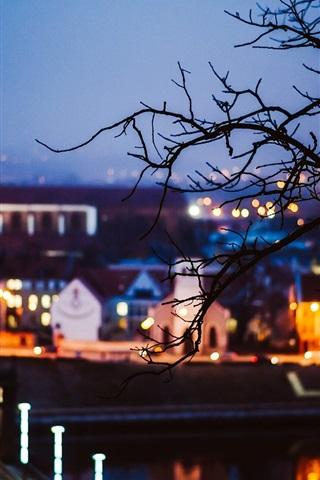iPhone Wallpaper Lithuania, Kaunas, city night, lights, trees, blur style