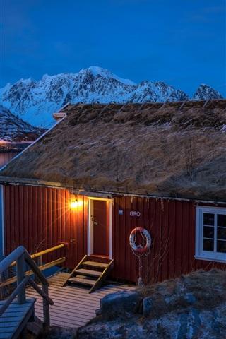 iPhone Wallpaper Lofoten, Norway, houses, mountains, winter, snow, bay, night, lights
