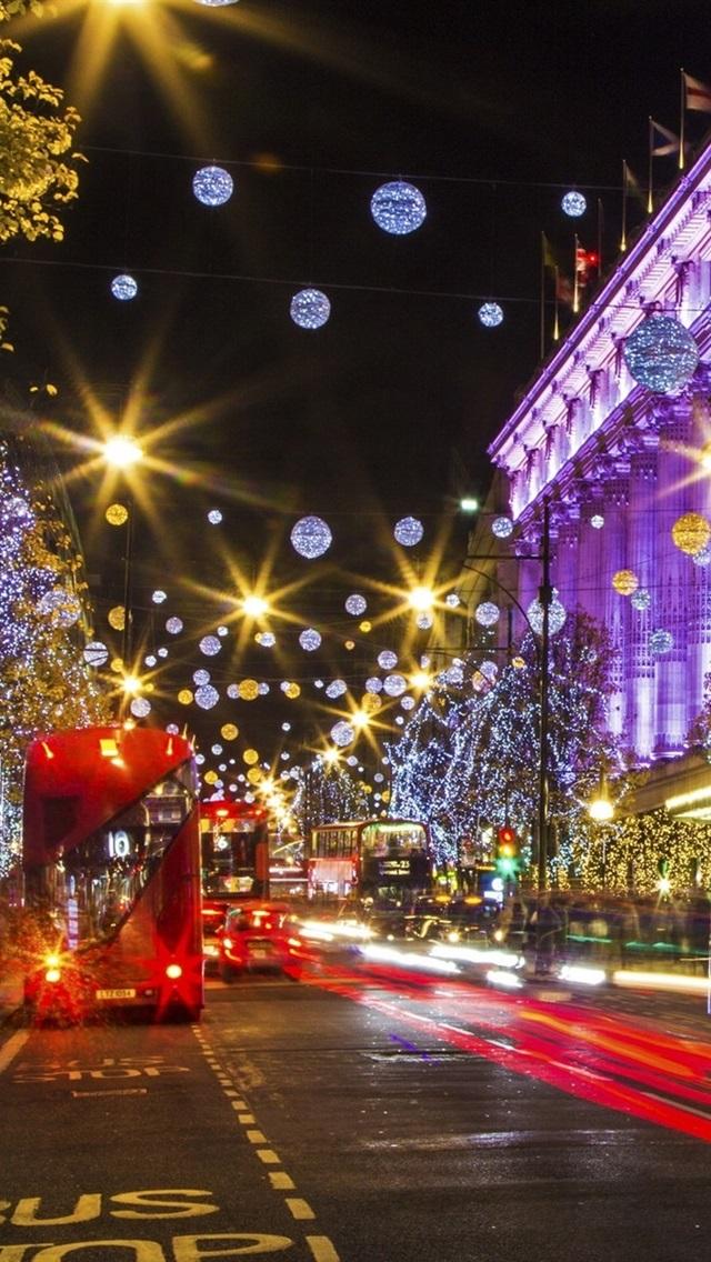 London England City Street Christmas Holiday Lights