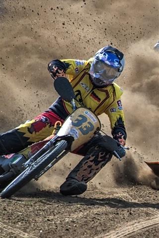 iPhone Wallpaper Motorcycle race, dirt, drift, sports