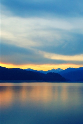 iPhone Wallpaper Mountains, lake, water reflection, clouds, sky, sunset