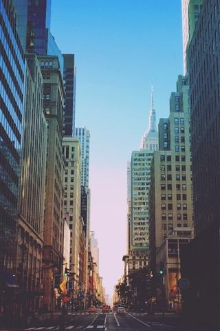 iPhone Wallpaper New York, city, road, traffic, buildings, dusk, USA
