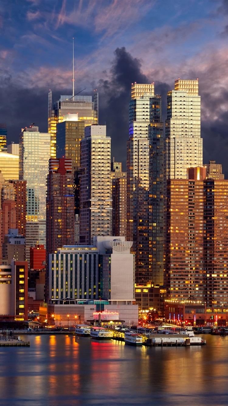 Wallpaper New York Skyscrapers Coast Lights Night