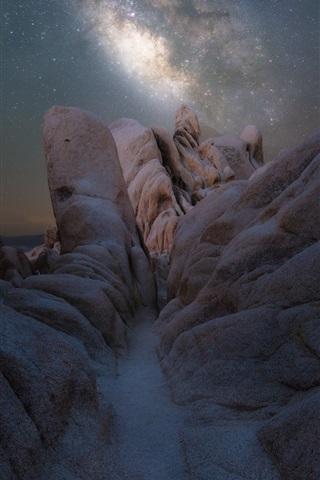 iPhone Wallpaper Night, milky way, stars, stones, Joshua Tree National Park, America