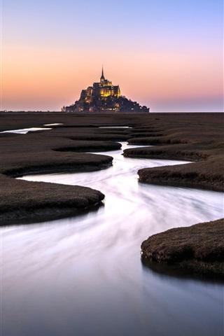 iPhone Wallpaper Normandie, Mont Saint-Michel, France, river, fence, dusk