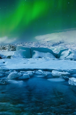 iPhone Wallpaper Northern lights, Iceland, glacial, frozen, snow, night, sea