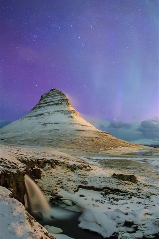 iPhone Wallpaper Northern lights, stars, sky, night, Kirkjufell mountain, Iceland