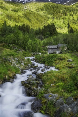 iPhone Wallpaper Norway, Hardanger, village, stream, mountains, trees