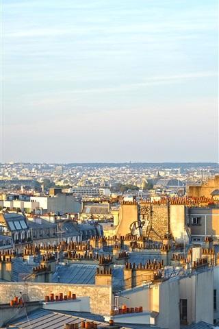 iPhone Wallpaper Paris, city, morning, sunshine, France