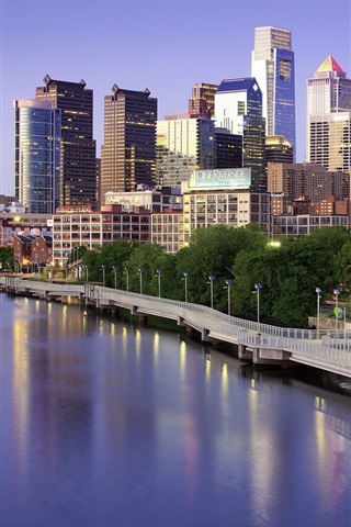 iPhone Wallpaper Philadelphia, USA, skyscrapers, bridge, lake, city