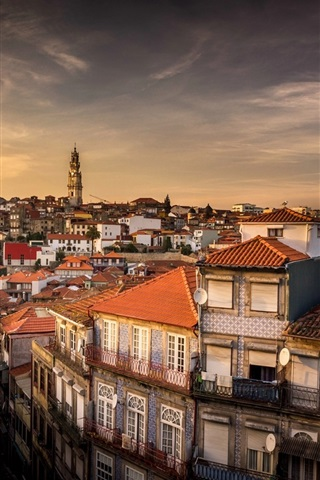 iPhone Wallpaper Portugal, city, houses, dusk