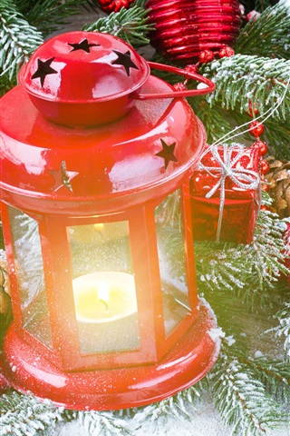 iPhone Wallpaper Red lantern, gift, twigs, snow, Christmas theme