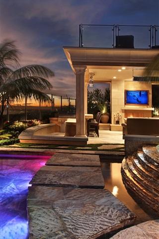 iPhone Wallpaper San Clemente, resort, hotel, pool, lights, night, USA