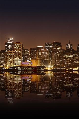 iPhone Wallpaper San Francisco beautiful city night, skyscrapers, lights, water reflection