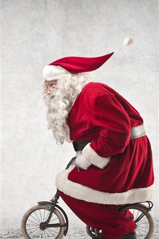 iPhone Wallpaper Santa Claus riding a small bike, humor, red coat, glasses, Christmas theme