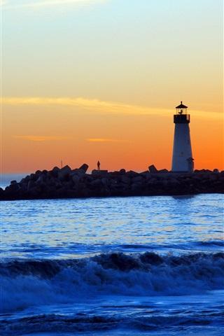 iPhone Wallpaper Sea, coast, lighthouse, people, sunset, clouds