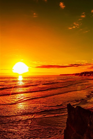 iPhone Wallpaper Sea, sunset, red sky, coast, dusk