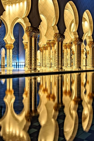 iPhone Wallpaper Sheikh Zayed Grand Mosque, Abu Dhabi, architecture, night, light