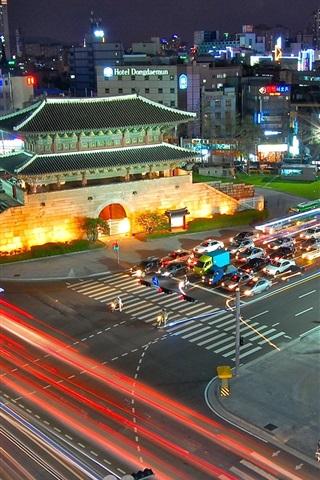 iPhone Wallpaper South Korea Seoul South Gate, night, road, traffic, lights