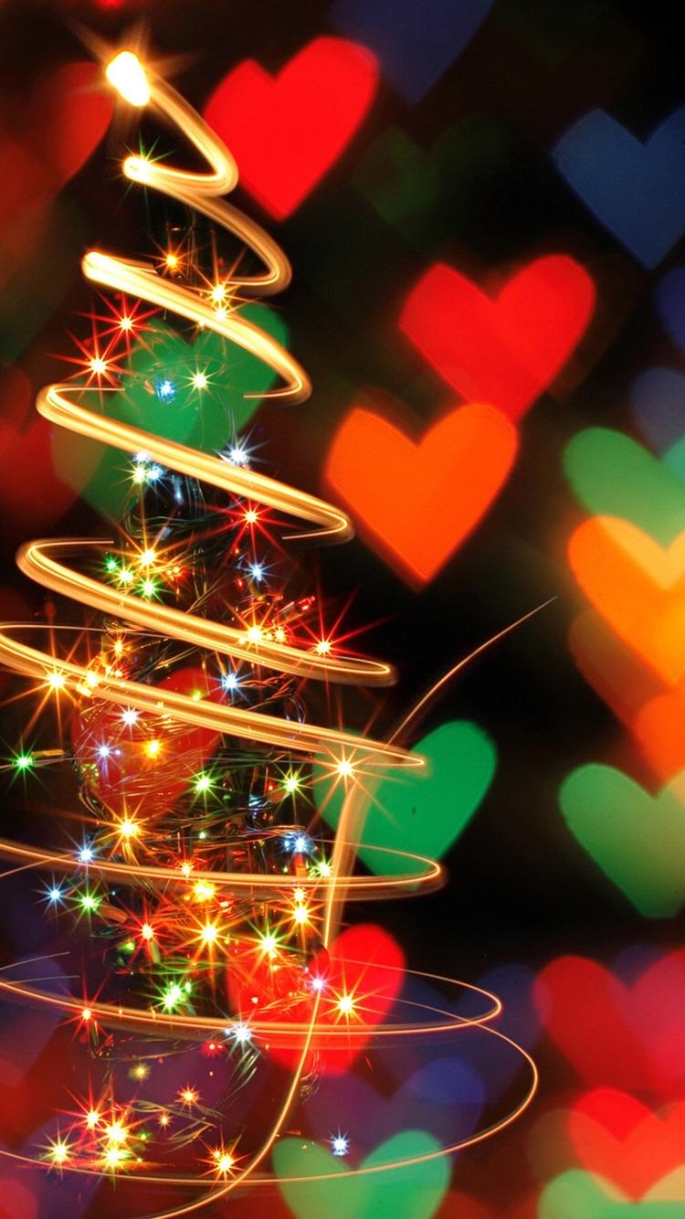 スパイラルライトクリスマスツリー 美しい画像 750x1334 Iphone 8 7 6