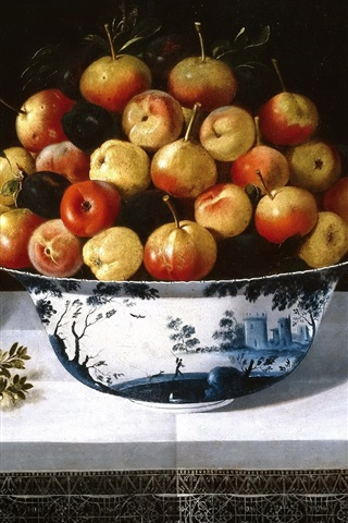 iPhone Wallpaper Still life, fruit and flowers, vase, art painting