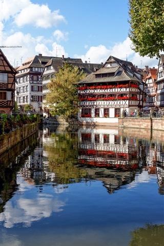 iPhone Wallpaper Strasbourg, France, houses, river, trees