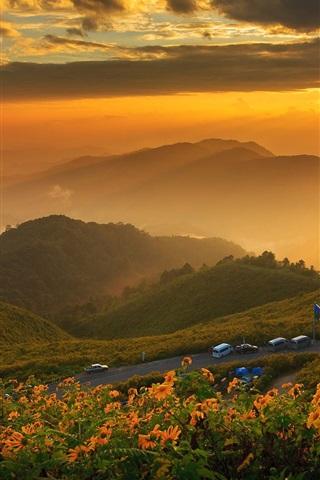 iPhone Wallpaper Thailand, mountains, dawn, clouds, sunrise, fog, road, cars