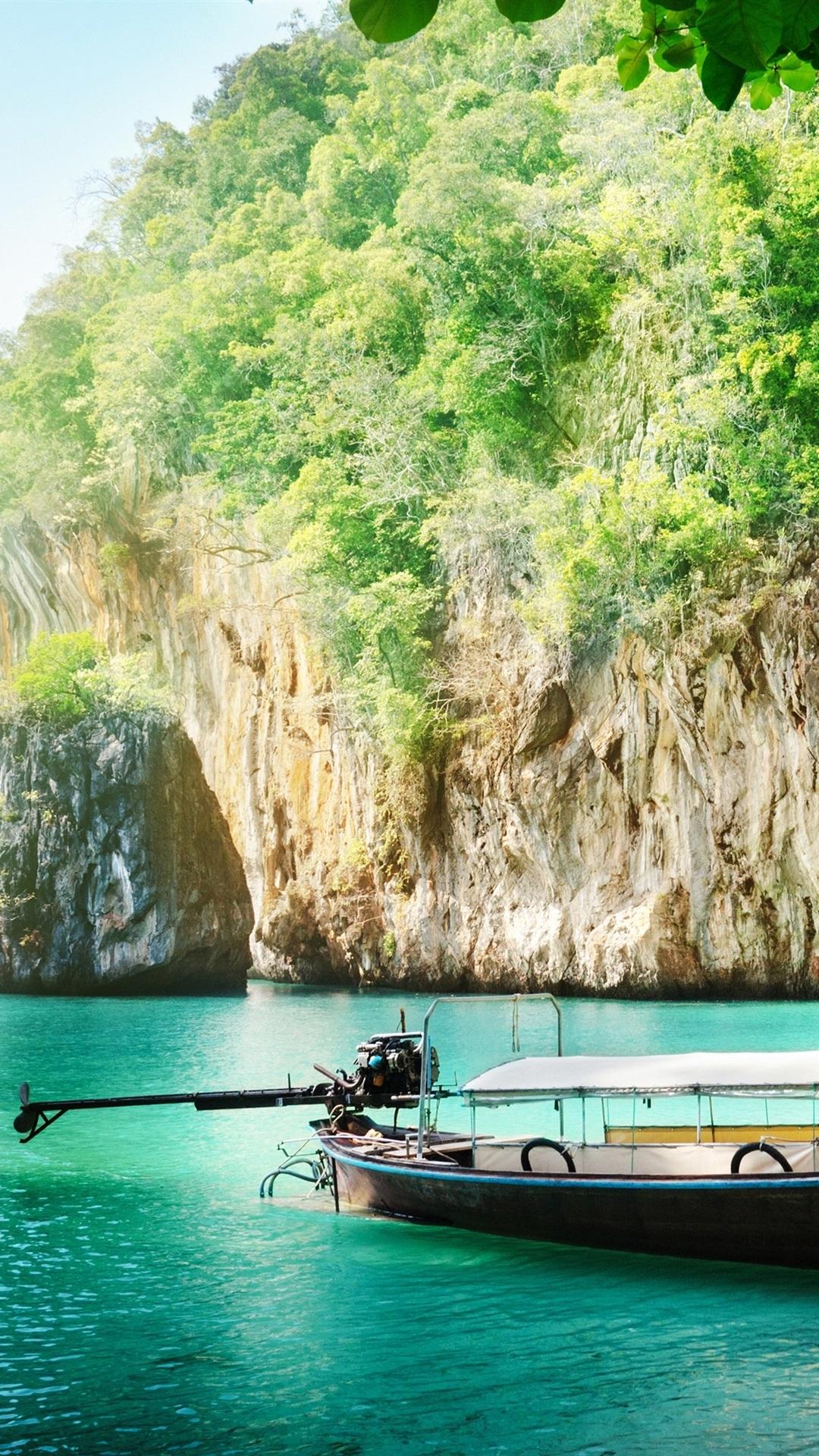 Fonds d'écran Thaïlande paysage, côte, mer, bateau ...