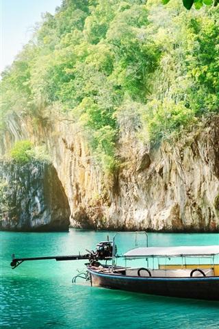 iPhone Wallpaper Thailand scenery, coast, sea, boat, cliff, leaves, sunshine