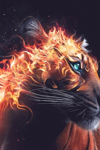 iPhone Wallpaper Tiger look back, fire, beast, Desktopography art design