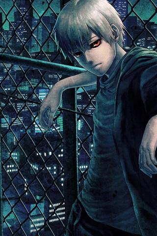 iPhone Wallpaper Tokyo Ghoul, red eyes anime boy