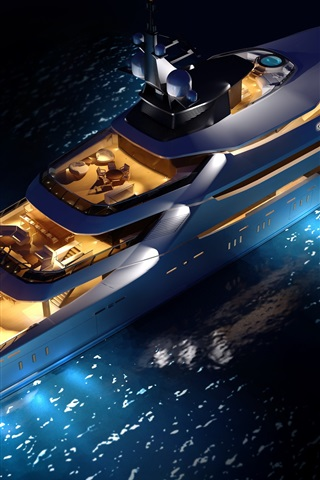 iPhone Wallpaper Top view the superyacht, night, lights