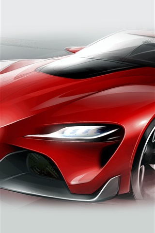 iPhone Wallpaper Toyota FT-1 red supercar figure
