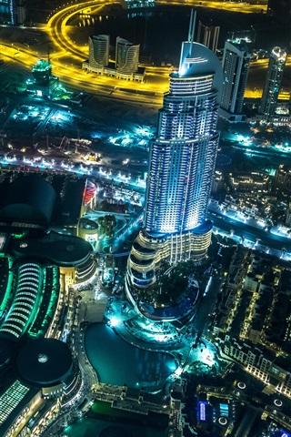 iPhone Wallpaper United Arab Emirates, Dubai, city, night, road, skyscrapers, lights
