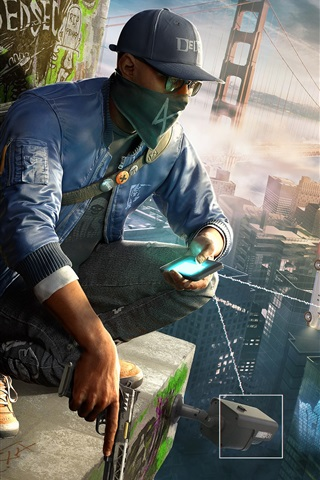 iPhone Wallpaper Watch Dogs 2, PC games, city, bridge