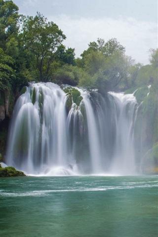 iPhone Wallpaper Waterfall, trees, water, fog, sky