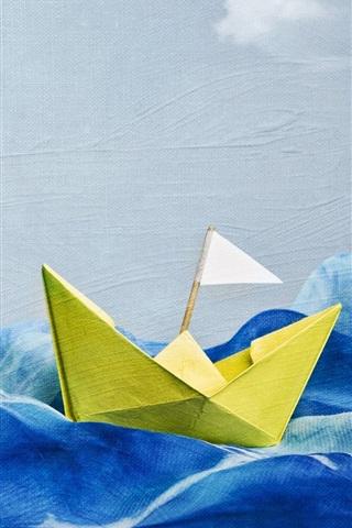 iPhone Wallpaper Wave, ship, creative art