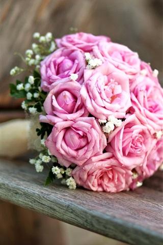 iPhone Wallpaper Wedding flowers, bouquet, pink roses