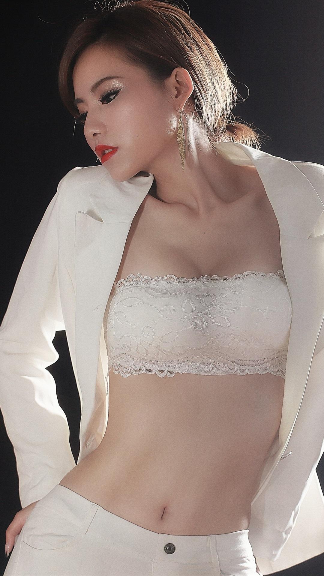 Wallpaper white dress asian girl black background - Asian girl 4k ...