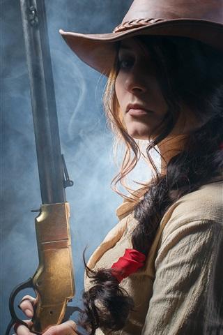 iPhone Wallpaper Wild west girl, rifle in hands, cowboy hat
