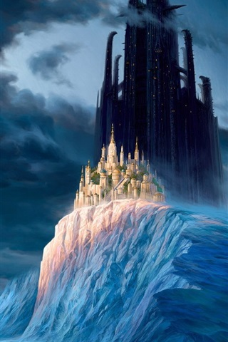 iPhone Wallpaper Winter, mountains, snow, ice, clouds, castle, city, skyscrapers, fantasy world