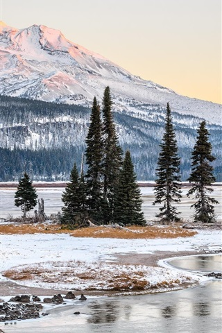 iPhone Wallpaper Winter, snow, trees, mountains, snow, river, USA nature landscape