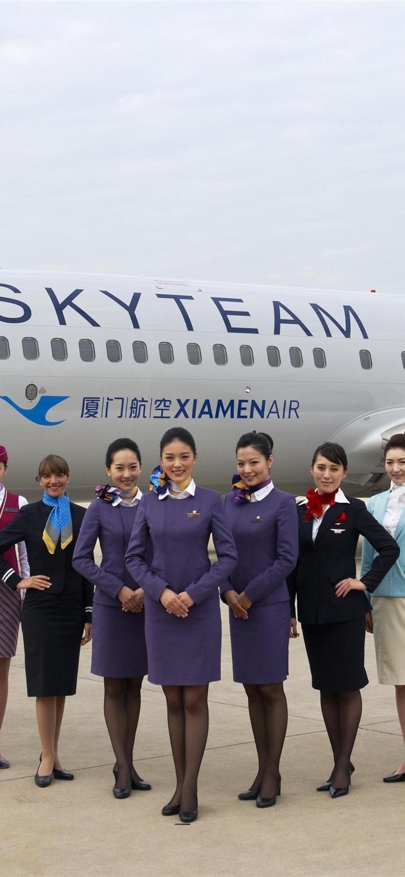 壁纸 厦门航空,机场,飞机,女孩,空姐 3840x2160 UHD 4K 高清壁纸, 图片, 照片