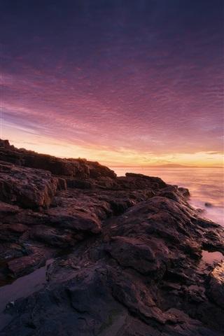 iPhone Wallpaper Acadia National Park, Maine, USA, sunset, sea, coast, stones, trees