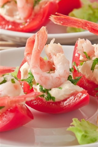 iPhone Wallpaper Appetizer, tomatoes, shrimp