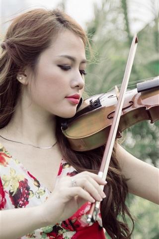 iPhone Wallpaper Asian girl, violin, music, nature