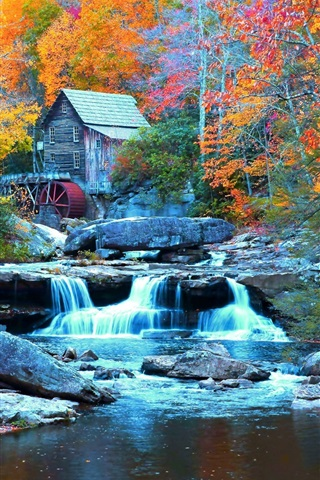 iPhone Wallpaper Babcock State Park, USA, waterfall, stream, trees, house, autumn