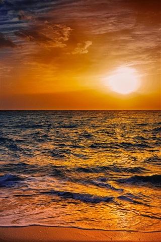 iPhone Wallpaper Beach, sand, sea, waves, fisherman, silhouette, sunset